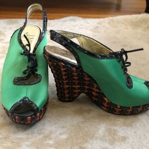 Bright Green Wedge Sandals NEW